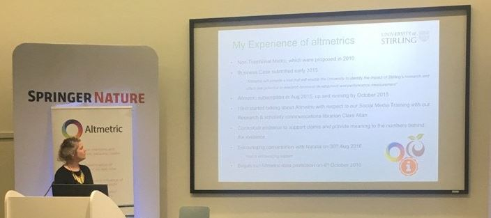 """.@researchfiona on how the Uni of Stirling approached the """"ambitious objective of enhancing [our] research profile by 100%"""" #altmetricon16 Photo Credit: @altmetric"""